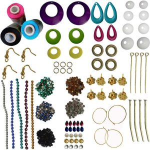 Pink, Black,SkyBlue Silk Thread 5 Different Color Strips and 10 Different Stones for Jewellery Making Kit
