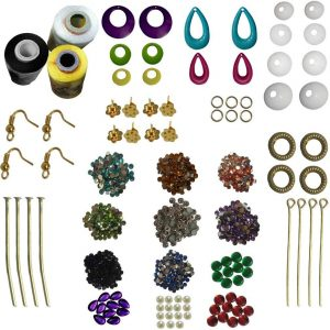 Jewellery Making kit 9 Different Earring Bases 3 Silk Threads 12 Color Stones