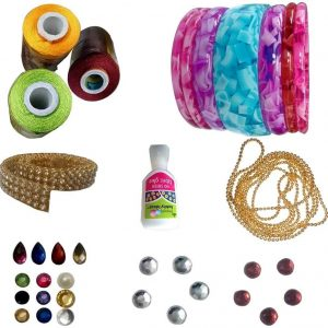 Jewellery Making Bangle Mini kit with Yellow,Parrot, Green,Maroon Silk Thread