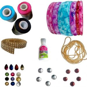 CraftKit Jewellery and Bangle Making Mini kit with Pink, Black and Sky Blue Silk Thread