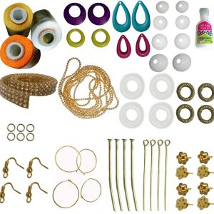 Jewellery Making accessories with Orange-Gold-White-Silk Thread