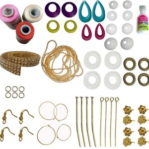 Jewellery Making Mini Kit with Light Pink Sandal Red Silk Thread for making your own earrings
