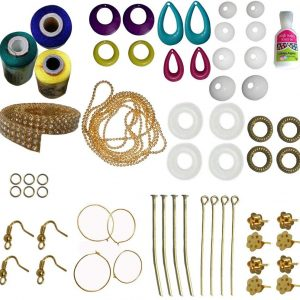 Jewellery Making Mini kit with lemonyellow-Blue-Green-Silk Thread for making your own earrings
