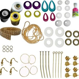 Jewellery Making Mini kit with White, Black, Lemon Yellow Silk Thread for your lovable earrings and Jewellery