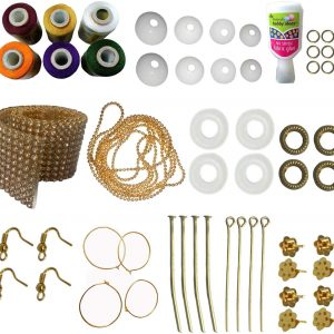 Jewellery-Making-kit with Orange-Gold-White-Maroon-Blue-Green-Silk Thread for your handmade earrings