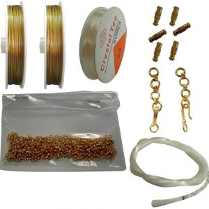 Jewellery Making Kit – Gear lock,chain screw elastic bracelet and one pouch of white wire