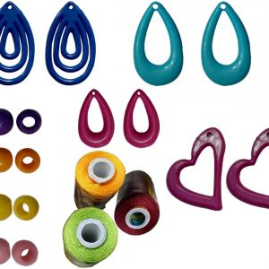 Jewellery Making kit 13 Different Earring Bases and 30 Chain/Necklace Making Beads with silk thread