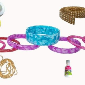 Jewellery Making Bangle Mini kit with White,Black,Lemon,Yellow Silk Thread