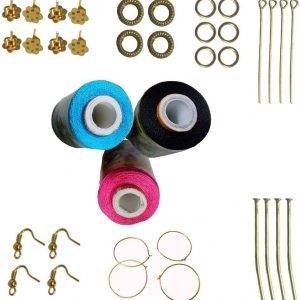 Pink, Black,SkyBlue Silk Thread 5 Different Color Strips and 10 Different Stones for Jewellery Making (prg-pnk-rd-bl-gld)