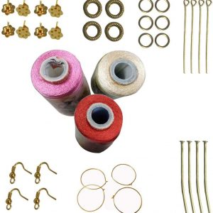 Sandal,red,Light Pink Silk Thread 5 Different Color Strips and 10 Different Stones for Jewellery Making(silv-bl-gr-br-gld)