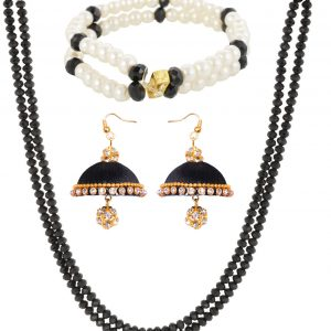Black Crystal Chain with Silk Thread Earring