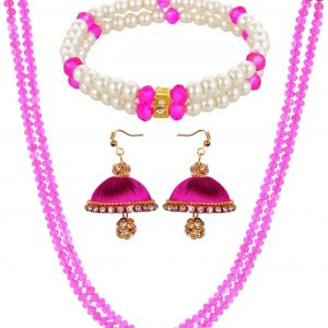 Pink Crystal Chain with Silk Thread Earring