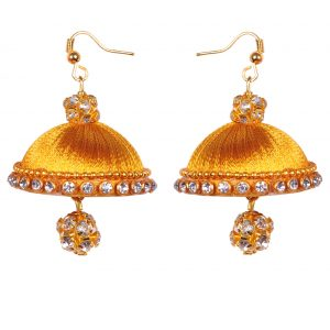 Gold (Honey colour) Crystal Chain with Gold (Honey colour) Silk Thread Earring