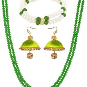 Dark Green Crystal Chain with Silk Thread Earring