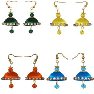 Mini-Earring – Silk Thread Earrings Skyblue – Lemonyellow – Orange – Green