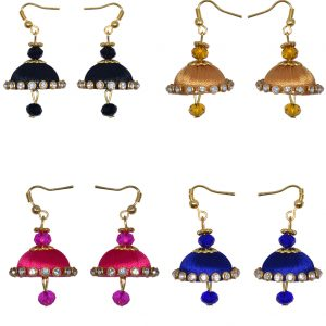 Mini-Earring-Black-Blue-Pink-Gold (Handmade Silk Thread)