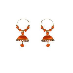Round Hook Earrings Dark Green, Orange