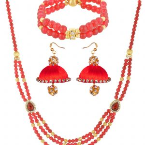 Red Three strand bead Chain with Silk Thread Earring
