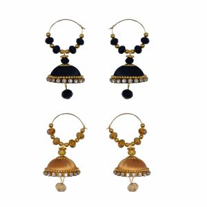 Round hook Earrings Black, Gold