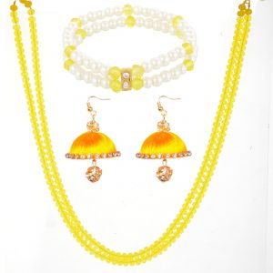 Yellow Crystal Chain with Silk Thread Earring