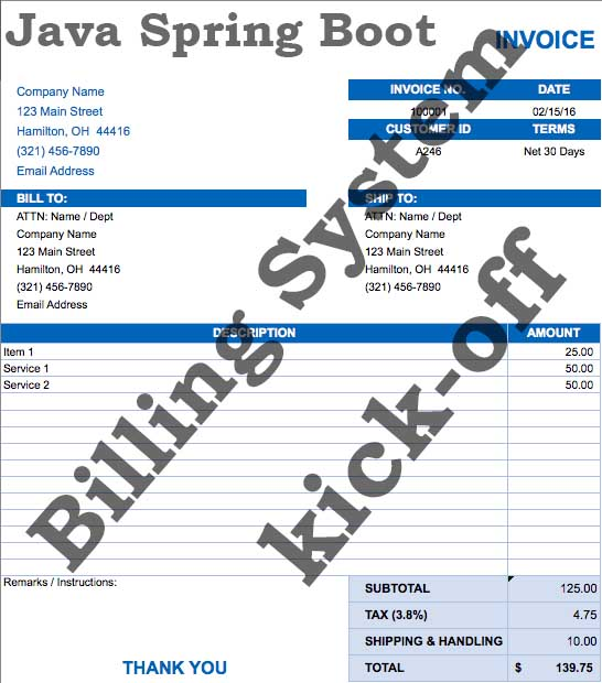 Billing System Kick-off story-Using Java Spring Boot