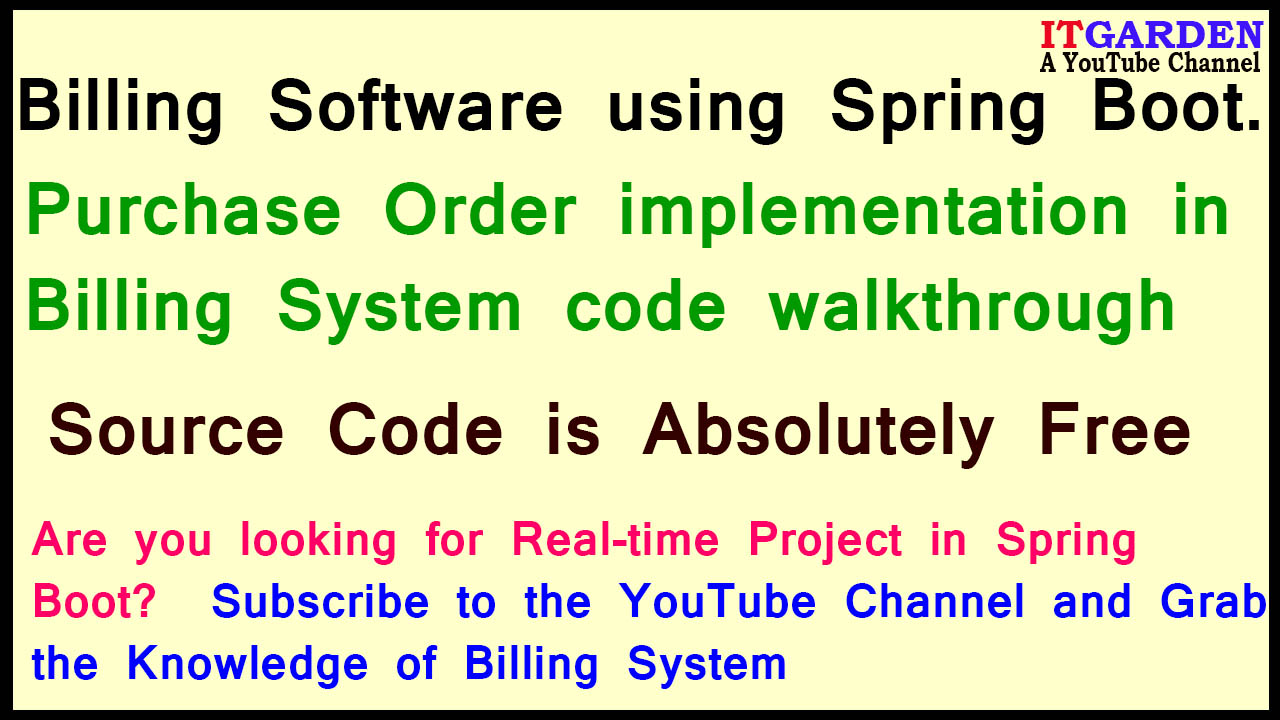 Billing System using Spring Boot - Purchase Order flow walkthrough in Billing Software