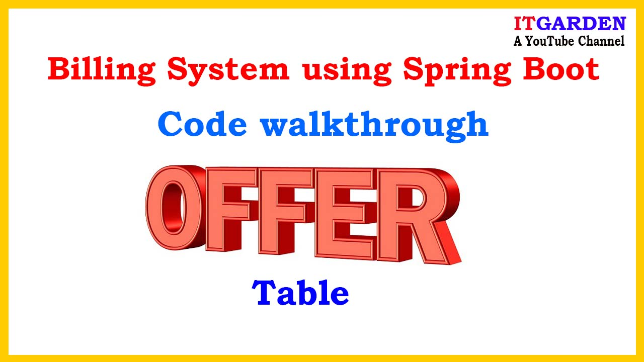 Code Walkthrough of Offer and Category Table